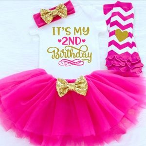 Baby Girl Second Birthday Pink Tutu Outfit Size 2